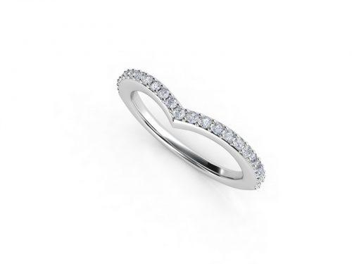 טבעת נישואין זהב לבן פאווה חץ