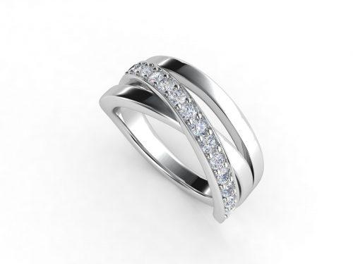 טבעת נישואין זהב לבן שלושה גשרים