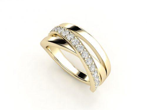 טבעת נישואין זהב צהוב שלושה גשרים