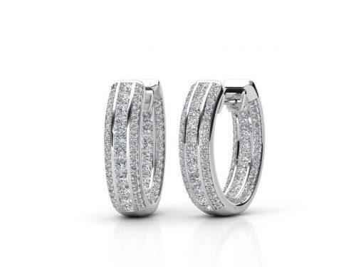 עגילי יהלומים בעיצוב חישוק פאווה פרמיום