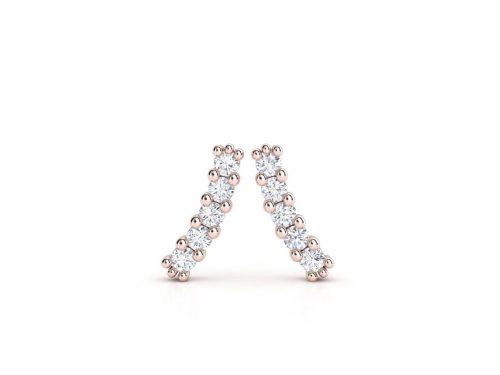 עגילי יהלומים זהב אדום בעיצוב מוניק עדין, סהכ 0.20 קראט יהלומים 2