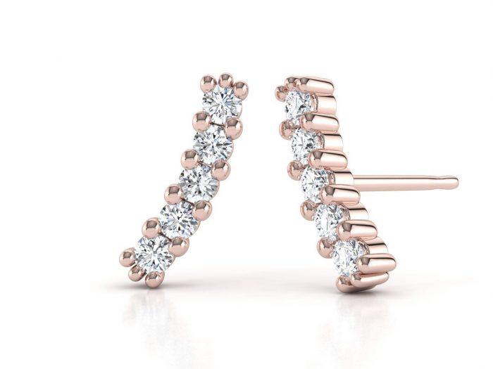 עגילי יהלומים זהב לבן בעיצוב מוניק עדין