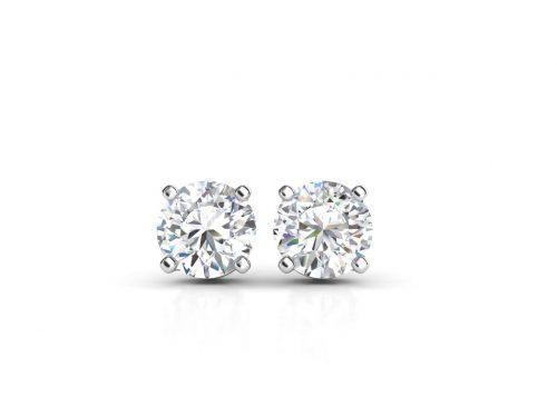 עגילי יהלומים זהב לבן חריצים קלאסי 2