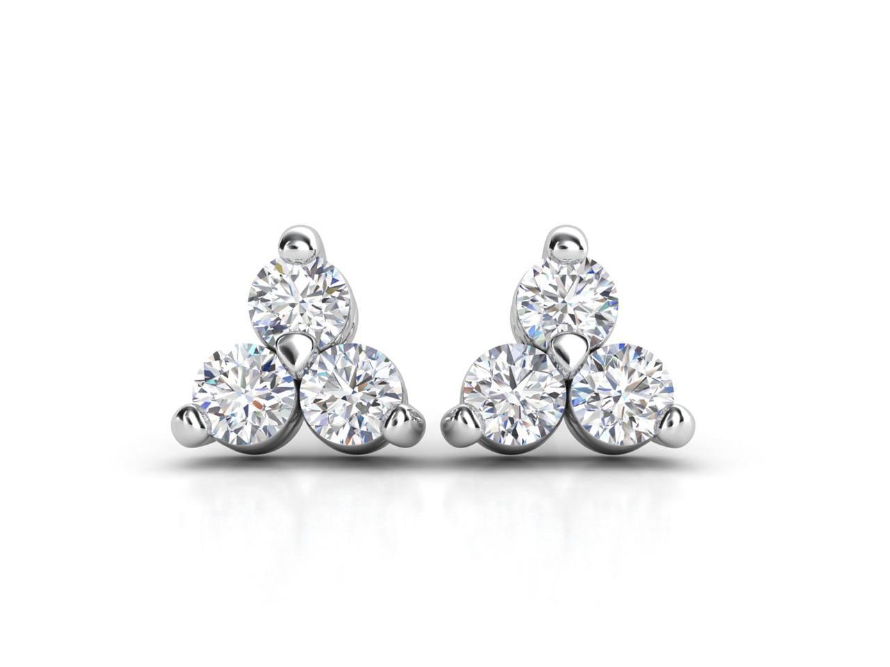 עגילי יהלומים זהב לבן שלושה חריצים קלאסי