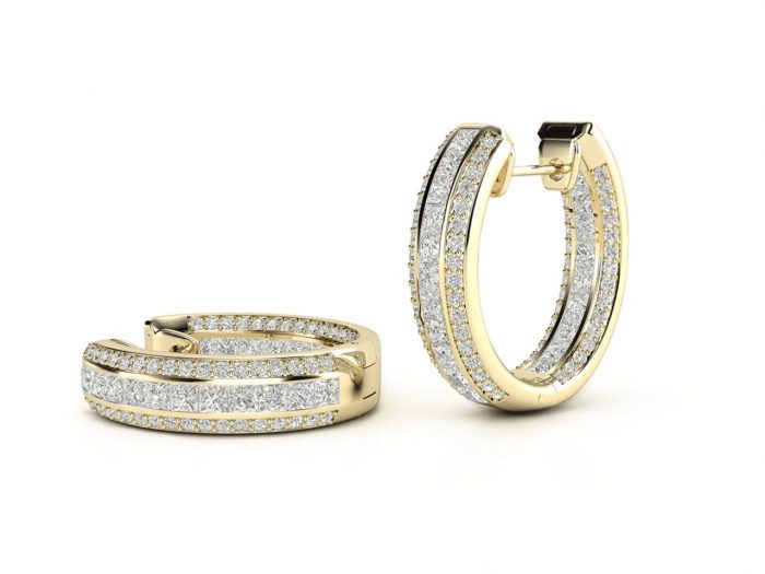 עגילי יהלומים זהב צהוב בעיצוב חישוק פאווה פרמיום 2