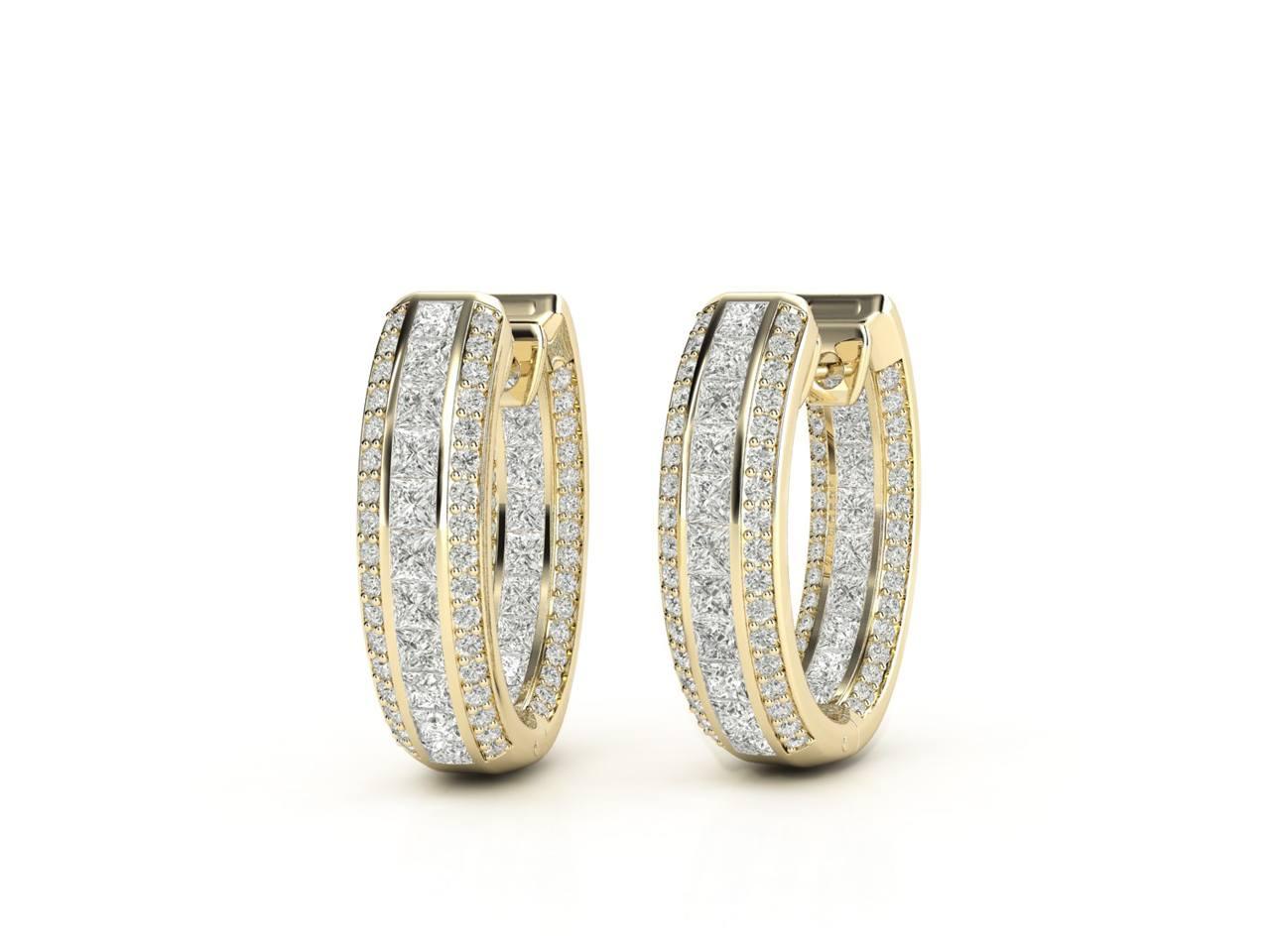 עגילי יהלומים זהב צהוב בעיצוב חישוק פאווה פרמיום