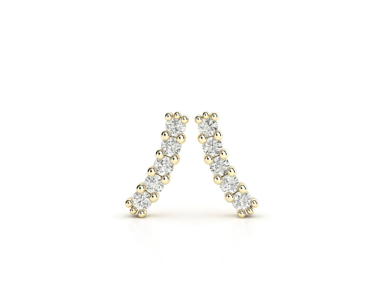 עגילי יהלומים זהב צהוב בעיצוב מוניק עדין, סהכ 0.20 קראט יהלומים 2