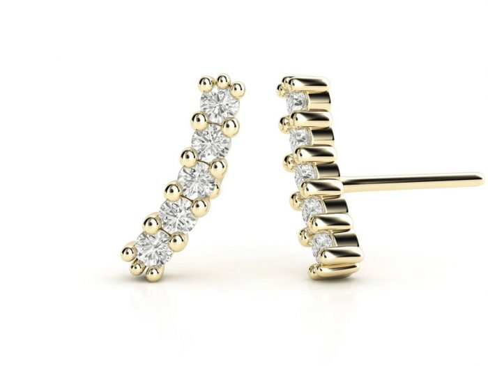 עגילי יהלומים זהב צהוב בעיצוב מוניק עדין, סהכ 0.20 קראט יהלומים
