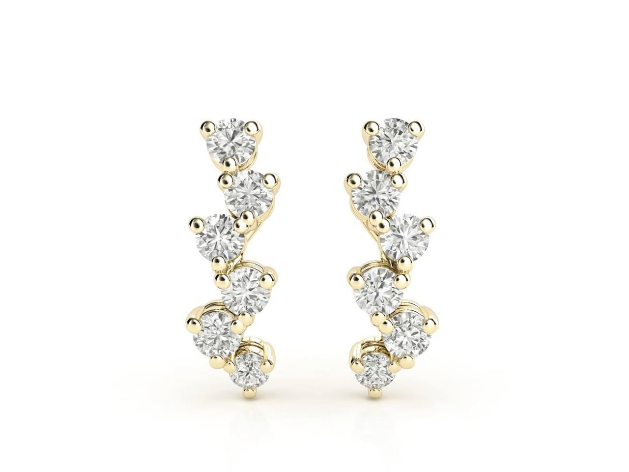 עגילי יהלומים זהב צהוב בעיצוב מוניק 2