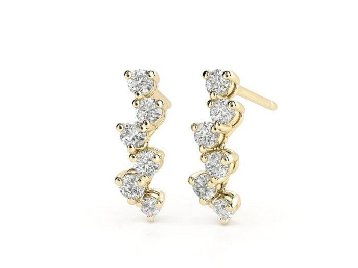 עגילי יהלומים זהב צהוב בעיצוב מוניק