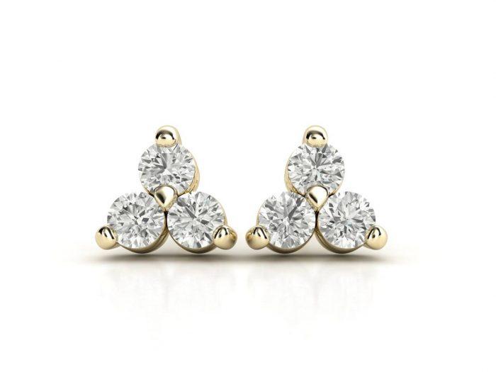 עגילי יהלומים זהב צהוב שלושה חריצים קלאסי