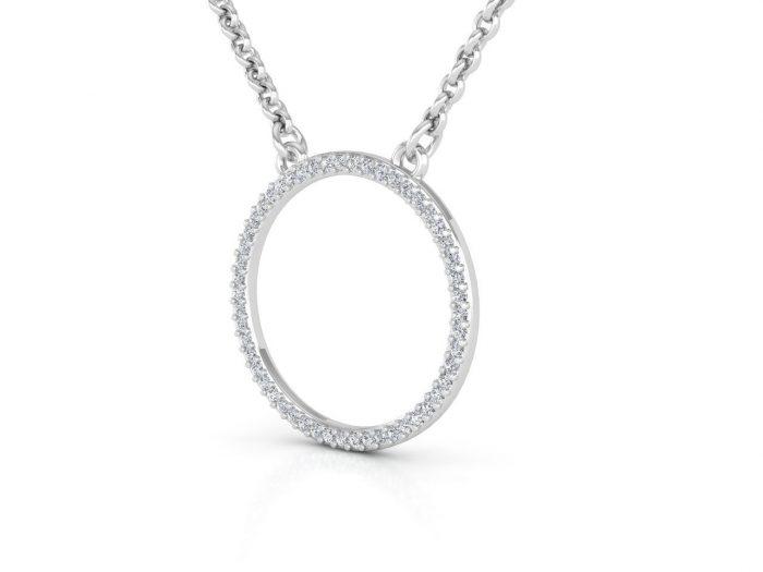 תליון יהלומים זהב לבן בעיצוב עיגול עדין 2