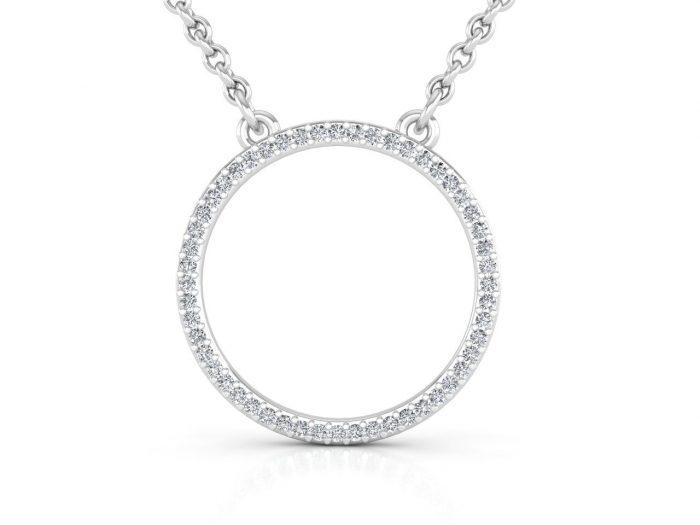 תליון יהלומים זהב לבן בעיצוב עיגול עדין