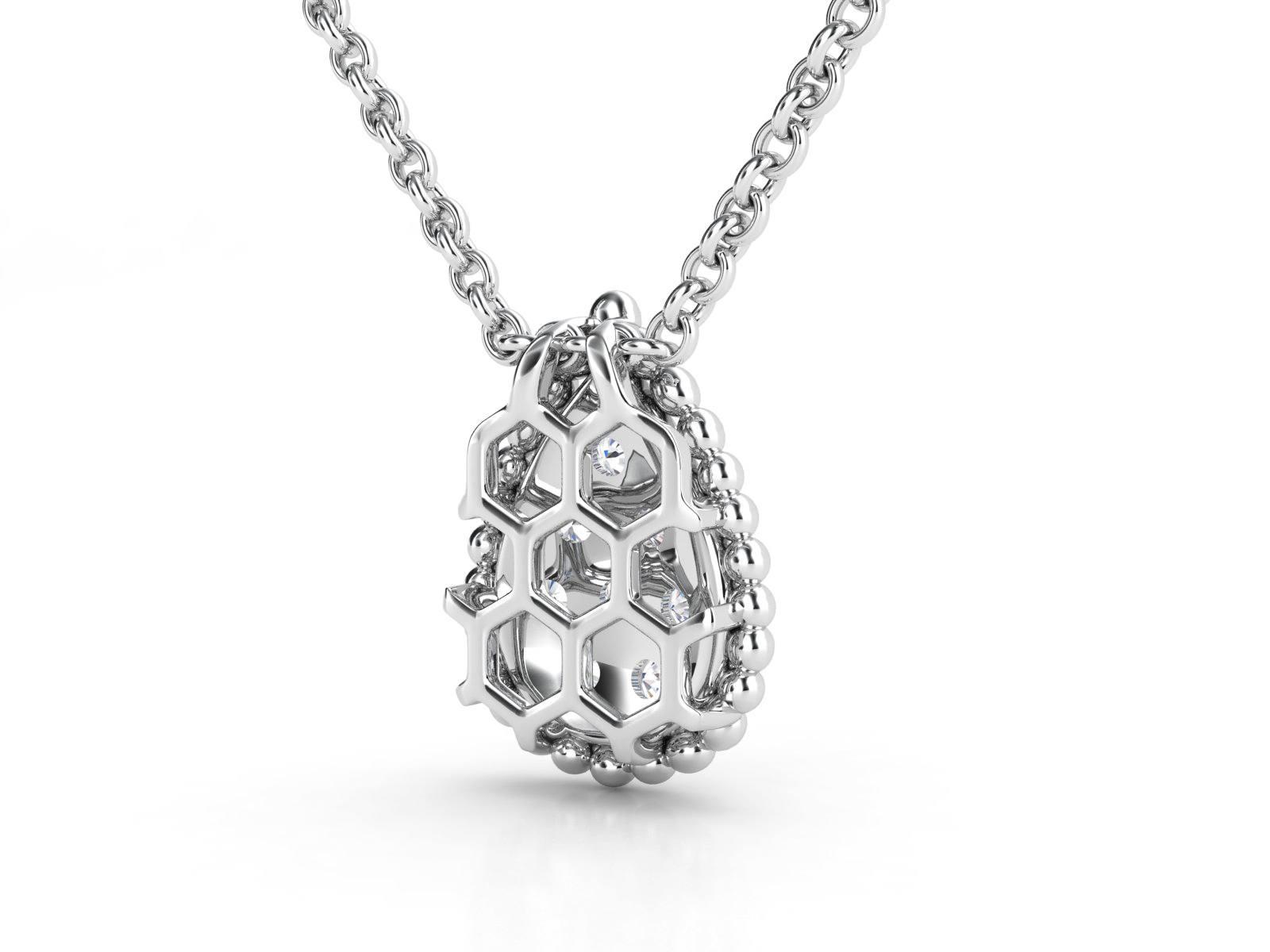 תליון יהלומים זהב לבן טיפה פאווה 2