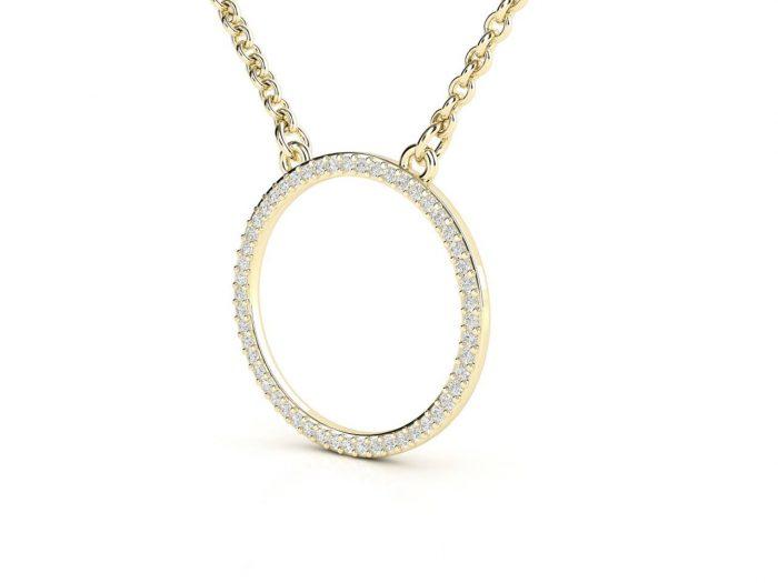 תליון יהלומים זהב צהוב בעיצוב עיגול עדין 2
