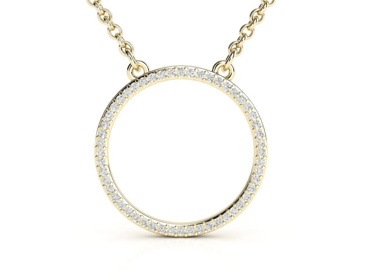 תליון יהלומים זהב צהוב בעיצוב עיגול עדין