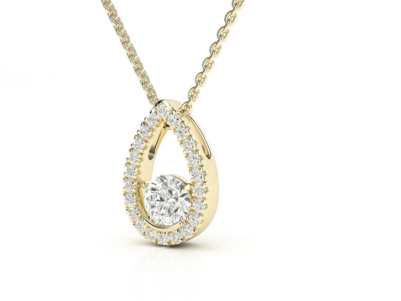 תליון יהלומים זהב צהוב טיפה ונציאנית 2