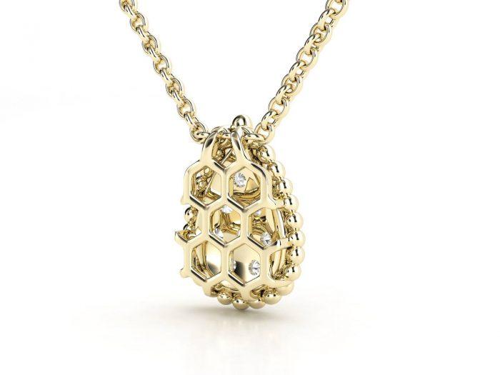 תליון יהלומים זהב צהוב טיפה פאווה 2