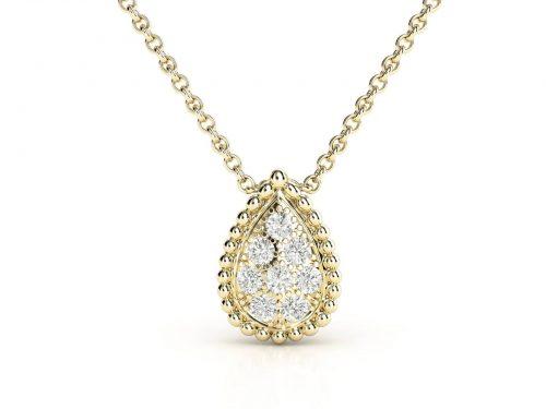 תליון יהלומים זהב צהוב טיפה פאווה