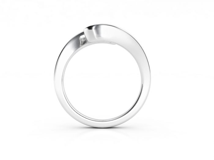 טבעת אירוסין זהב לבן כוכב - 0.42 קראט יהלומים 2