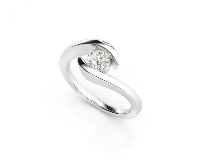 טבעת אירוסין זהב לבן כוכב - 0.42 קראט יהלומים 3