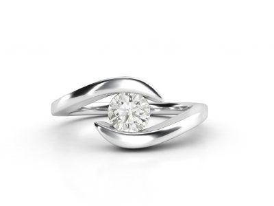 טבעת אירוסין זהב לבן כוכב - 0.42 קראט יהלומים