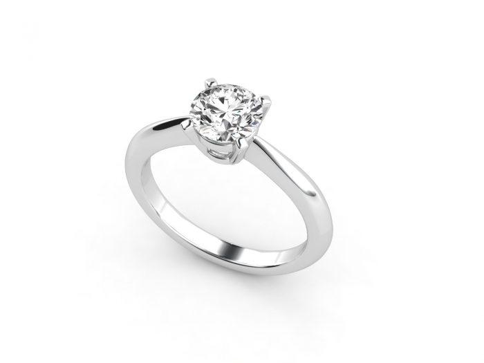 טבעת אירוסין זהב לבן סוליטר דקה - 1.03 2