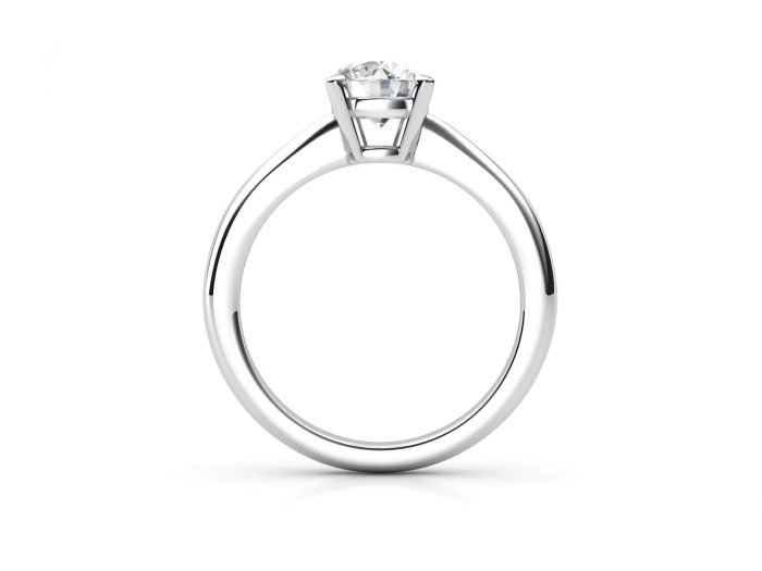 טבעת אירוסין זהב לבן סוליטר דקה - 1.03