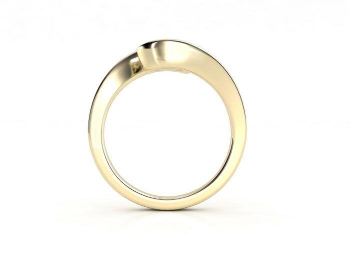 טבעת אירוסין זהב צהוב כוכב - 0.42 קראט יהלומים 2