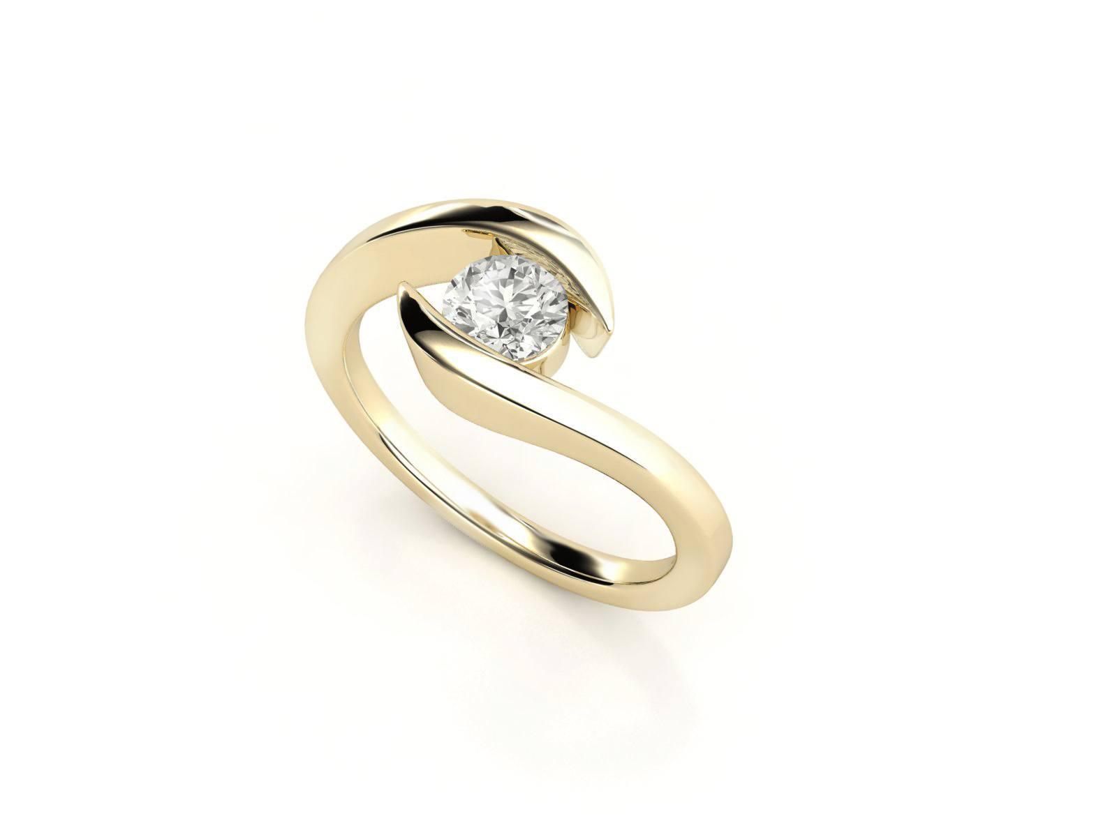 טבעת אירוסין זהב צהוב כוכב - 0.42 קראט יהלומים 3
