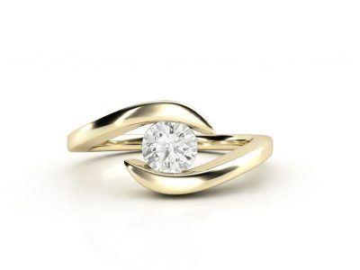 טבעת אירוסין זהב צהוב כוכב - 0.42 קראט יהלומים